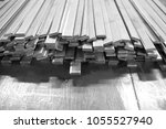 stack of stainless steel flat... | Shutterstock . vector #1055527940
