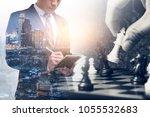 the double exposure image of... | Shutterstock . vector #1055532683