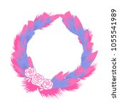 round wreath of feathers cute.... | Shutterstock .eps vector #1055541989