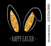 happy easter greeting card with ... | Shutterstock .eps vector #1055542880