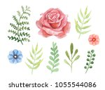 vector floral set. colourful... | Shutterstock .eps vector #1055544086