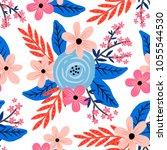 seamless vector floral bouquet... | Shutterstock .eps vector #1055544530