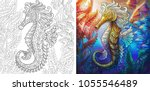 coloring page. seahorse and... | Shutterstock .eps vector #1055546489