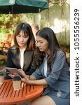 asian start up business girl... | Shutterstock . vector #1055556239