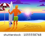 surfer on the ocean beach at... | Shutterstock .eps vector #1055558768