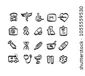 freehand medical icon set with... | Shutterstock .eps vector #1055559530