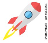 simple flying rocket  spaceship.... | Shutterstock .eps vector #1055561858