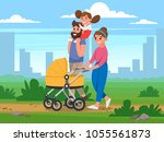 happy family walking in the... | Shutterstock .eps vector #1055561873
