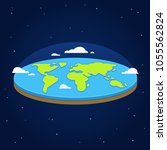 flat earth in space. ancient... | Shutterstock .eps vector #1055562824