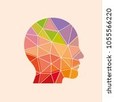 low poly human head on the... | Shutterstock .eps vector #1055566220