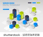 concept of big data processing  ... | Shutterstock .eps vector #1055569358