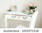 beautiful light interior. white ... | Shutterstock . vector #1055571518