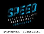 speed style font  alphabet and... | Shutterstock .eps vector #1055573153