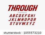 cutted through font  alphabet... | Shutterstock .eps vector #1055573210