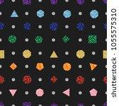 seamless glitter rainbow... | Shutterstock .eps vector #1055575310