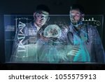 a couple of doctors or... | Shutterstock . vector #1055575913