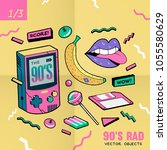the 90's rad. 90's style vector ... | Shutterstock .eps vector #1055580629