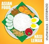 nasi lemak  a traditional malay ... | Shutterstock .eps vector #1055589650