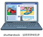 social network website on... | Shutterstock .eps vector #1055594519