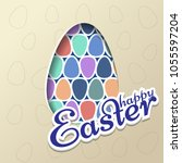 template easter greeting card.... | Shutterstock . vector #1055597204