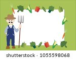 illustrated farmer in coveralls ... | Shutterstock .eps vector #1055598068