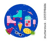 vector summer colorful... | Shutterstock .eps vector #1055598686