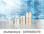 coin stacks   business money... | Shutterstock . vector #1055600270