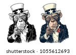 monkey uncle sam with pointing... | Shutterstock .eps vector #1055612693