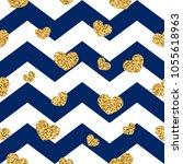 gold heart seamless pattern.... | Shutterstock .eps vector #1055618963