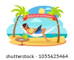 distant work and freelance... | Shutterstock .eps vector #1055625464