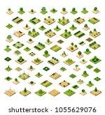 isometric 3d set desert park... | Shutterstock .eps vector #1055629076