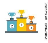 winners podium with gold ... | Shutterstock .eps vector #1055629850