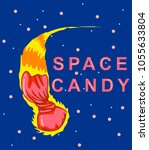 candy comet with a fiery tail... | Shutterstock .eps vector #1055633804