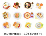 breakfast vector coffee and... | Shutterstock .eps vector #1055645549
