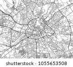 black and white vector city map ... | Shutterstock .eps vector #1055653508