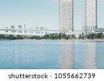 big bridge cross the blue sea... | Shutterstock . vector #1055662739