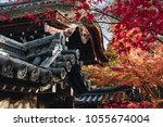roof of japanese temple ... | Shutterstock . vector #1055674004