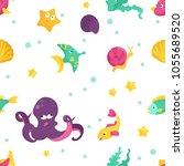 bright cartoon partten with sea ...   Shutterstock .eps vector #1055689520