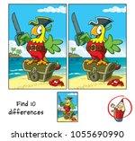 pirate parrot with a cutlass... | Shutterstock .eps vector #1055690990