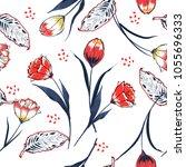 trendy tulip flower seamless... | Shutterstock .eps vector #1055696333