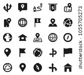 flat vector icon set   compass... | Shutterstock .eps vector #1055705273