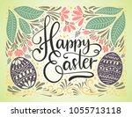 easter vector lettering card....   Shutterstock .eps vector #1055713118