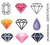 diamond colorful set | Shutterstock .eps vector #1055719274