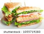 fresh appetizing sandwich with... | Shutterstock . vector #1055719283