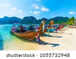 harbor on ton sai bay   phi phi ... | Shutterstock . vector #1055732948