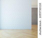 empty room with brick wall  3d...   Shutterstock . vector #1055733110