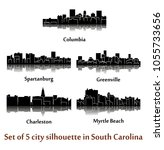 set of 5 city silhouette in... | Shutterstock .eps vector #1055733656