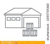 warehouse building behind goods ...   Shutterstock .eps vector #1055735360