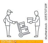 courier  delivers goods  parcel ... | Shutterstock .eps vector #1055737109