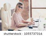side view profile portrait of... | Shutterstock . vector #1055737316